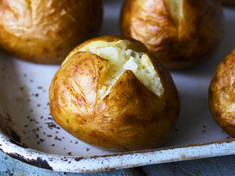 The best of British potatoes, frozen once we've baked them to perfection –so you can have jackets in a jiffy!